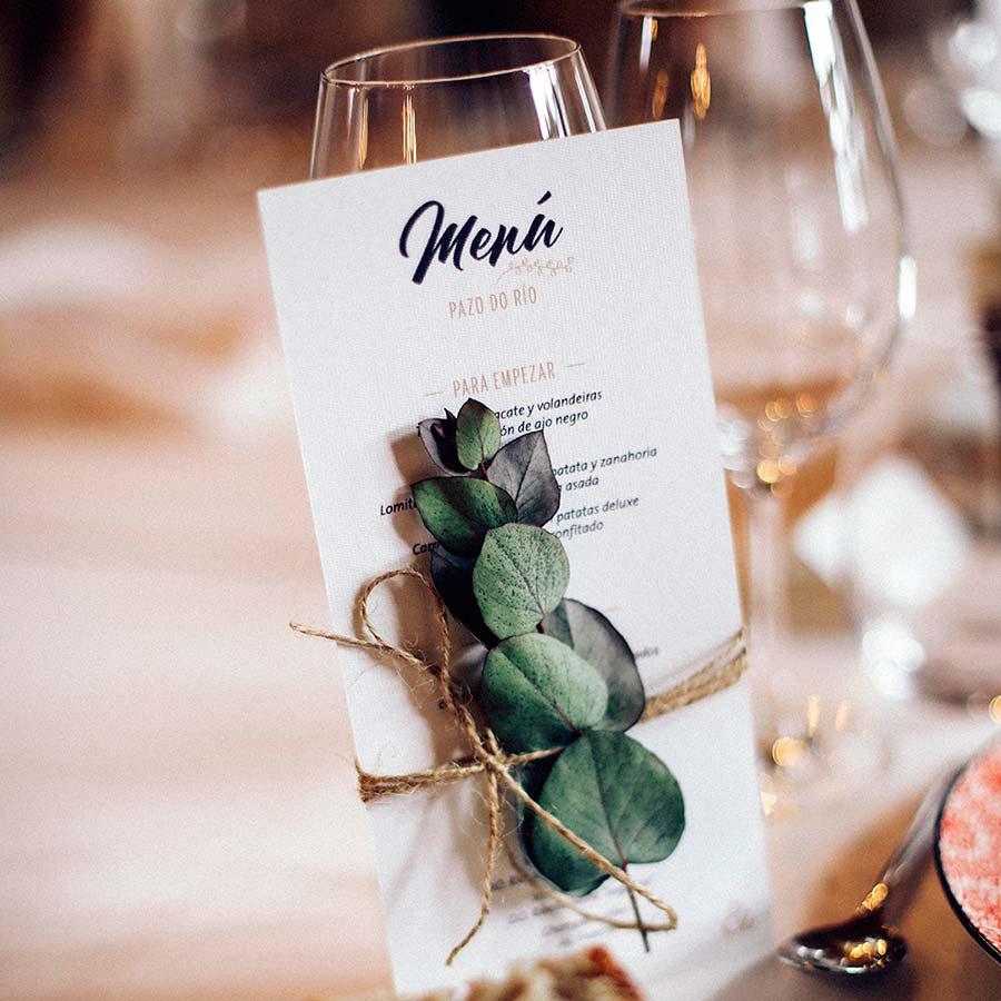 Diseño de minutas personalizadas para boda