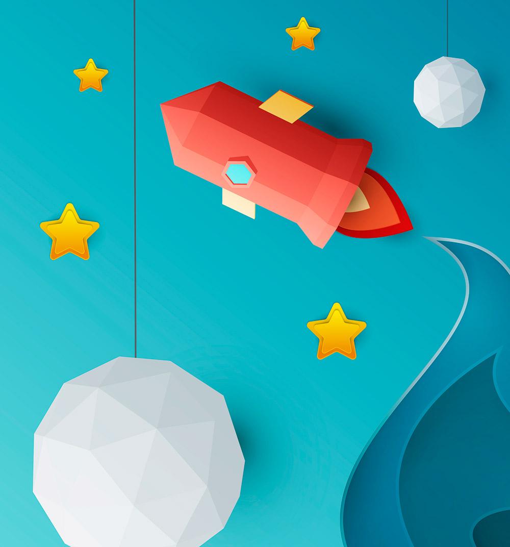 ilustracion en papel tridimensional de un cohete, diseño orientado a público infantil de la asociación Apego