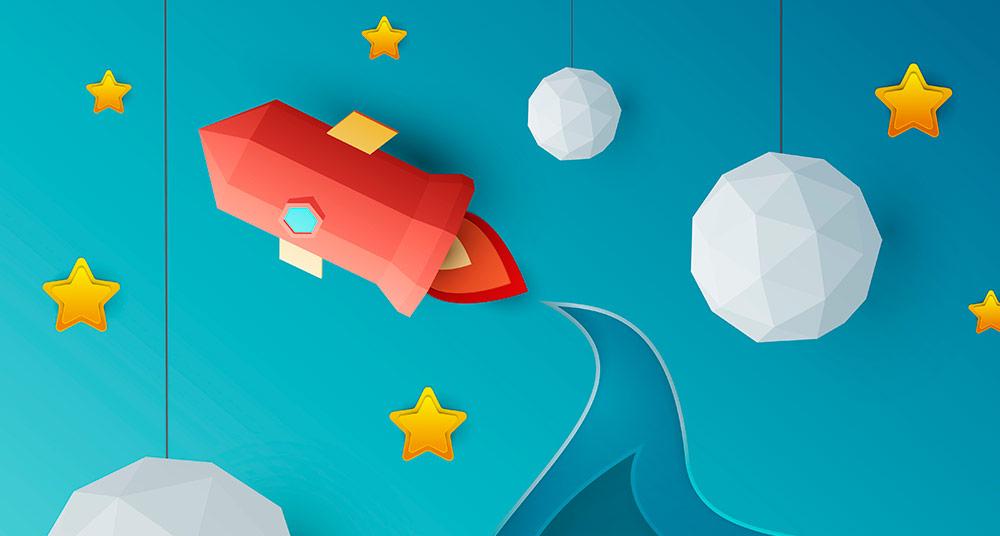 diseno digital de un cohete espacial de papel en el espacio, fondo del poster de Apego para el ayuntamiento de A Coruña
