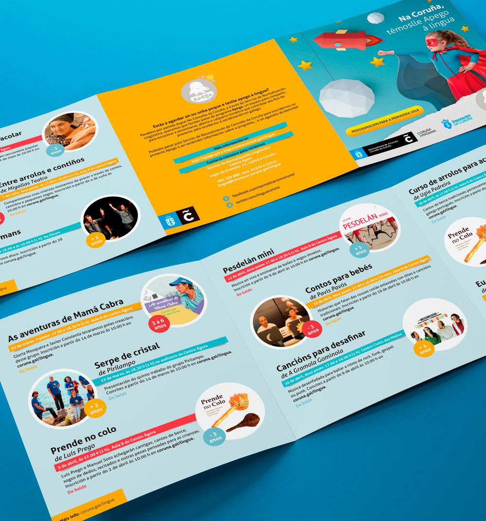 Diseno abierto de los folletos informativos de jornadas del ayuntamiento de A Coruña para la integración del gallego para los niños
