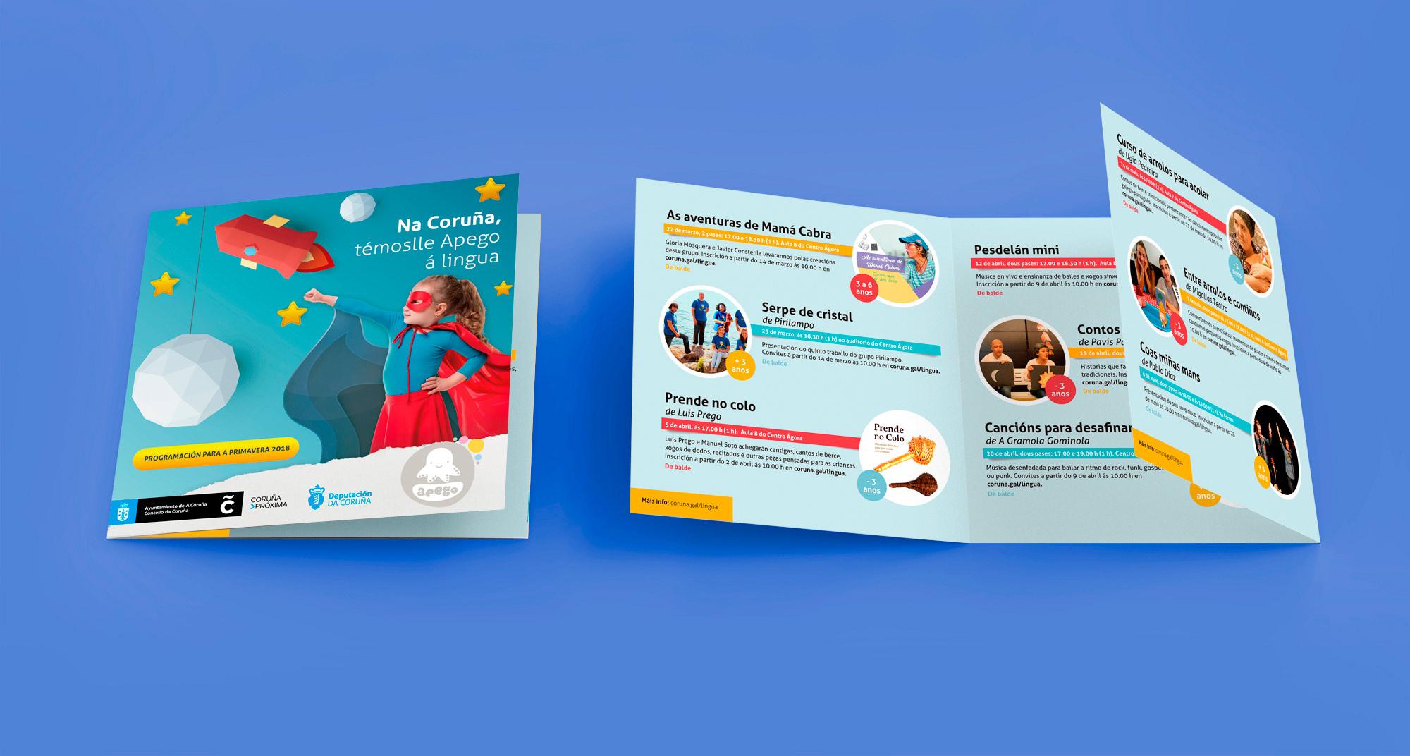 portada e interior del folleto de Apego, publicidad del ayuntamiento de La Coruña para promover el gallego en los más pequeños.