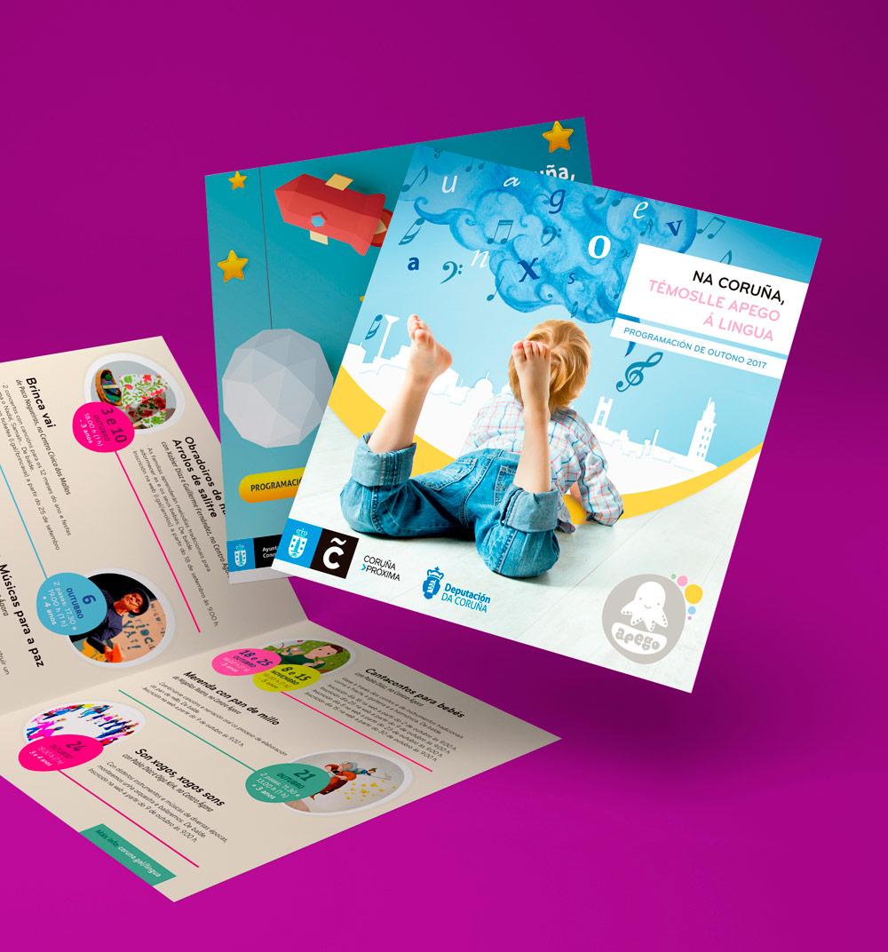 Diseño gráfico para la promoción de las jornadas sobre lingua galega del año 2017, realizado con una gráfica colorida y algere para llegar a los más jóvenes
