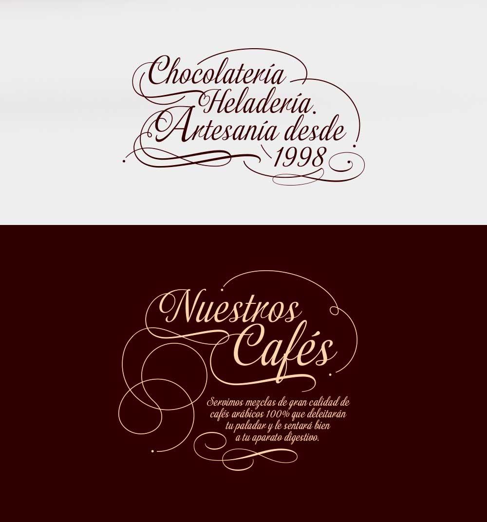 Letterings y caligrafía para la marca ilvia, una cafetería con helados y bollería artesanos