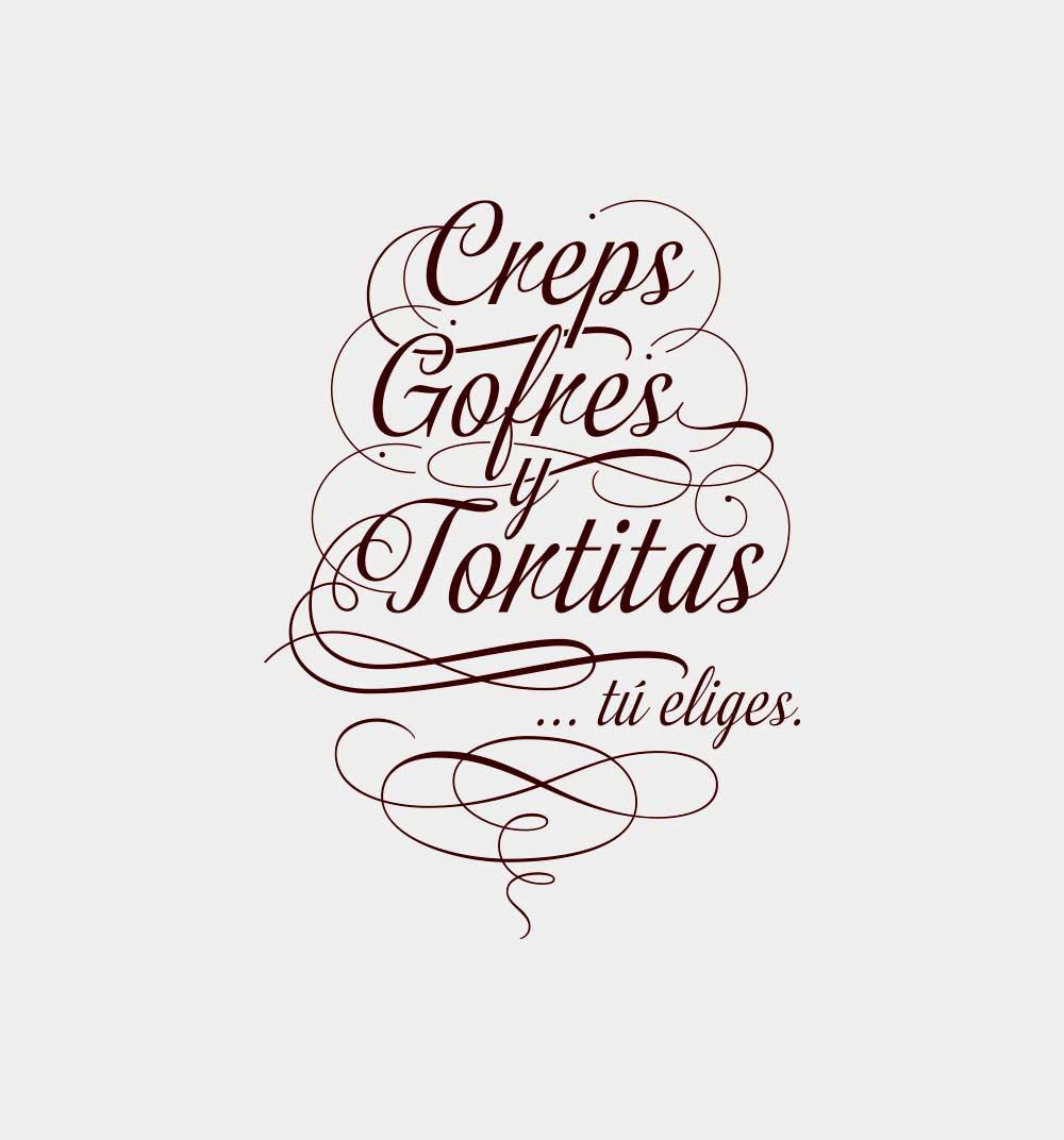 tipografía manuscrita con remates que forma un escudo con las palabras Creps, gofres y tortillas