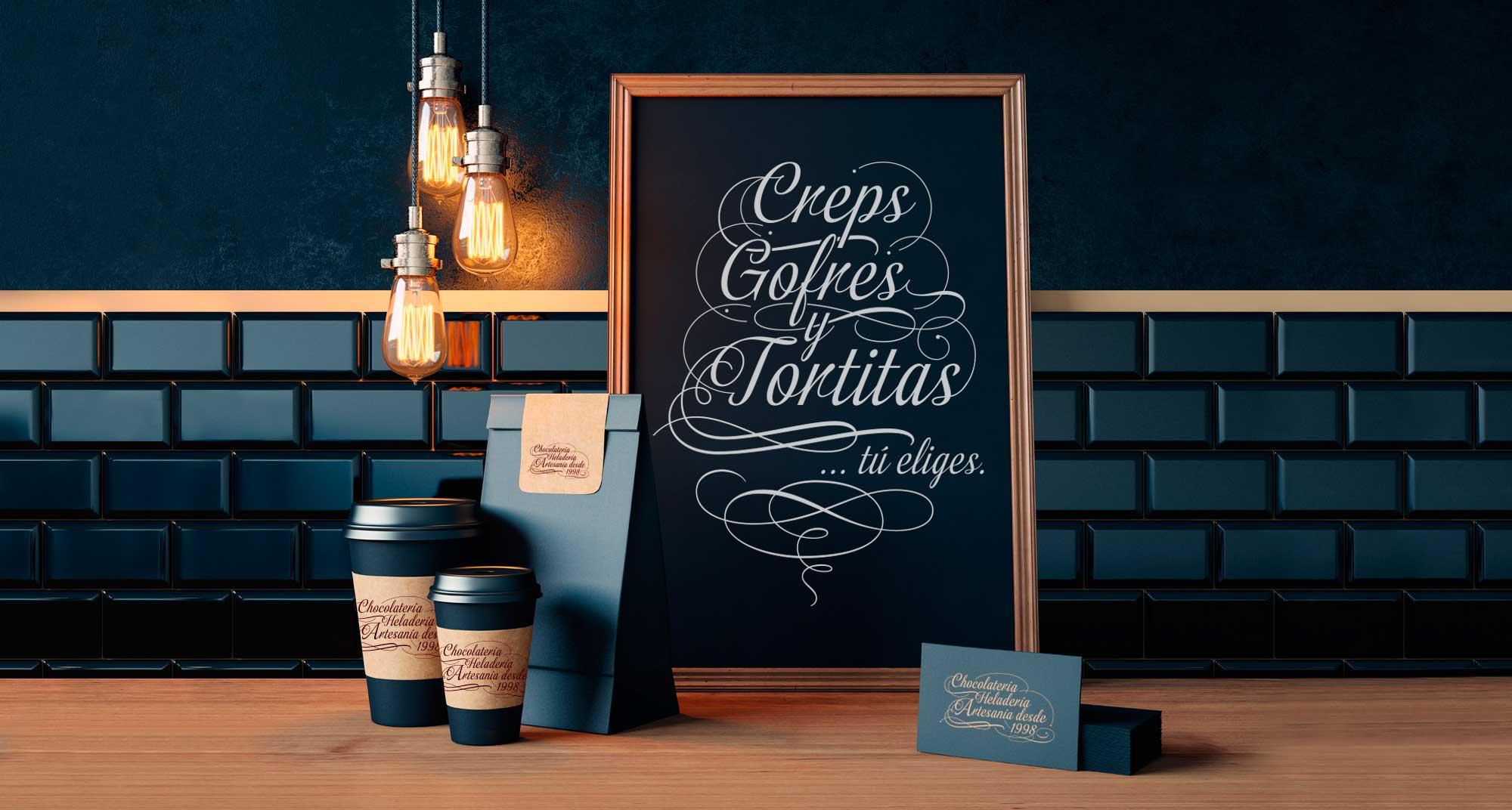 Composición de Packaging, pizarra y tarjetas corporativas para la cafetería de A Coruña