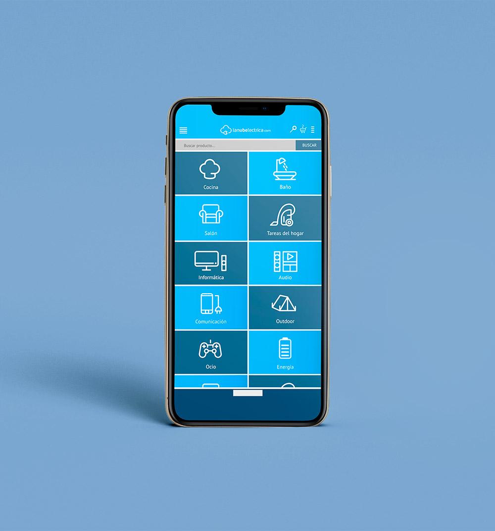 Diseño tienda online responsive en dispositivo móvil