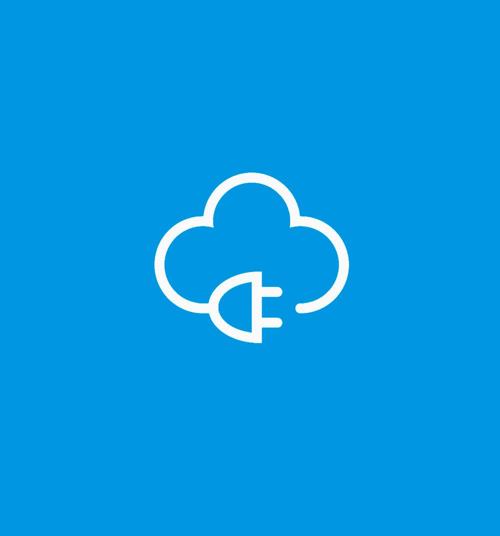 El símbolo de la nube eléctrica que forma parte de la marca