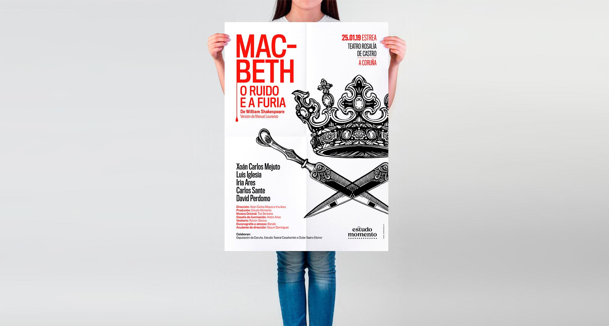Diseño de cartel obra de teatro Macbeth en galego
