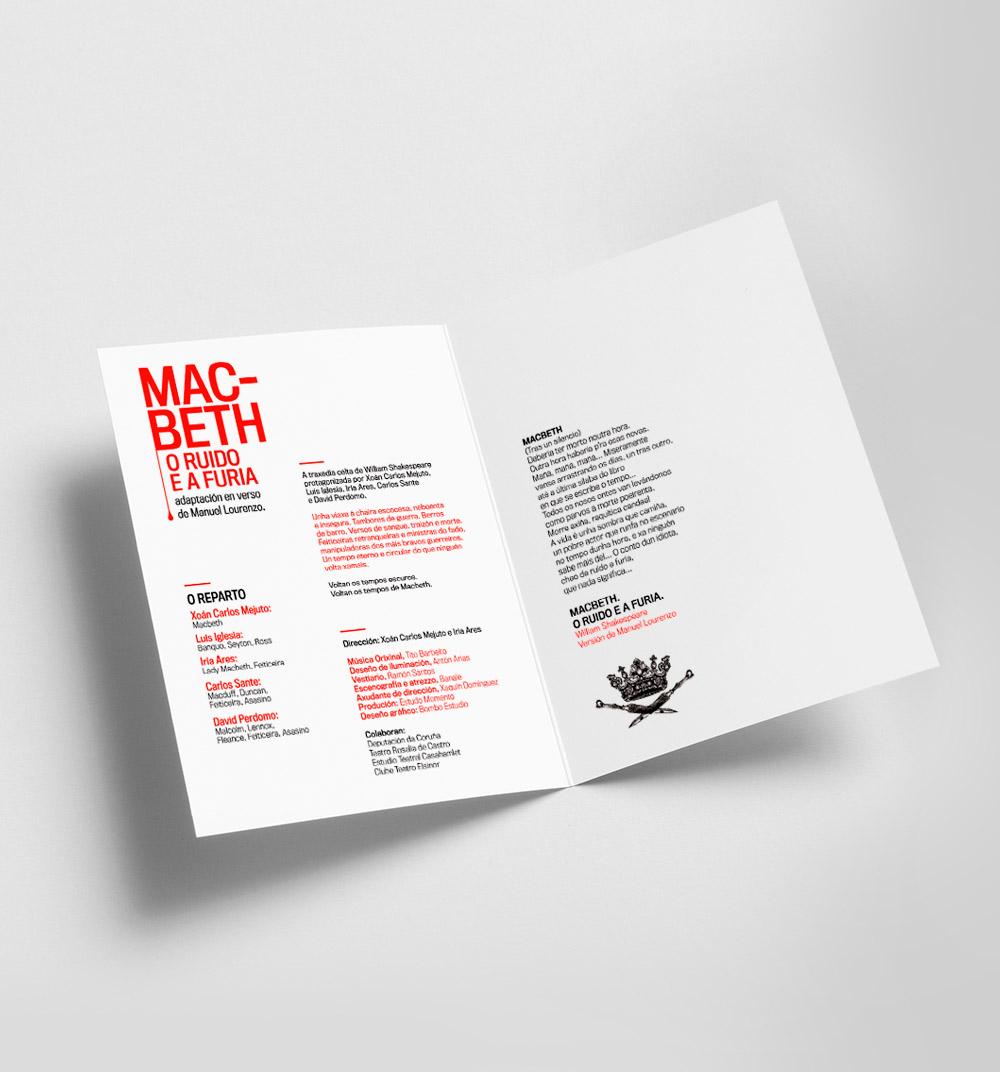 Diseño de díptico de programa de man obra de teatro Macbeth
