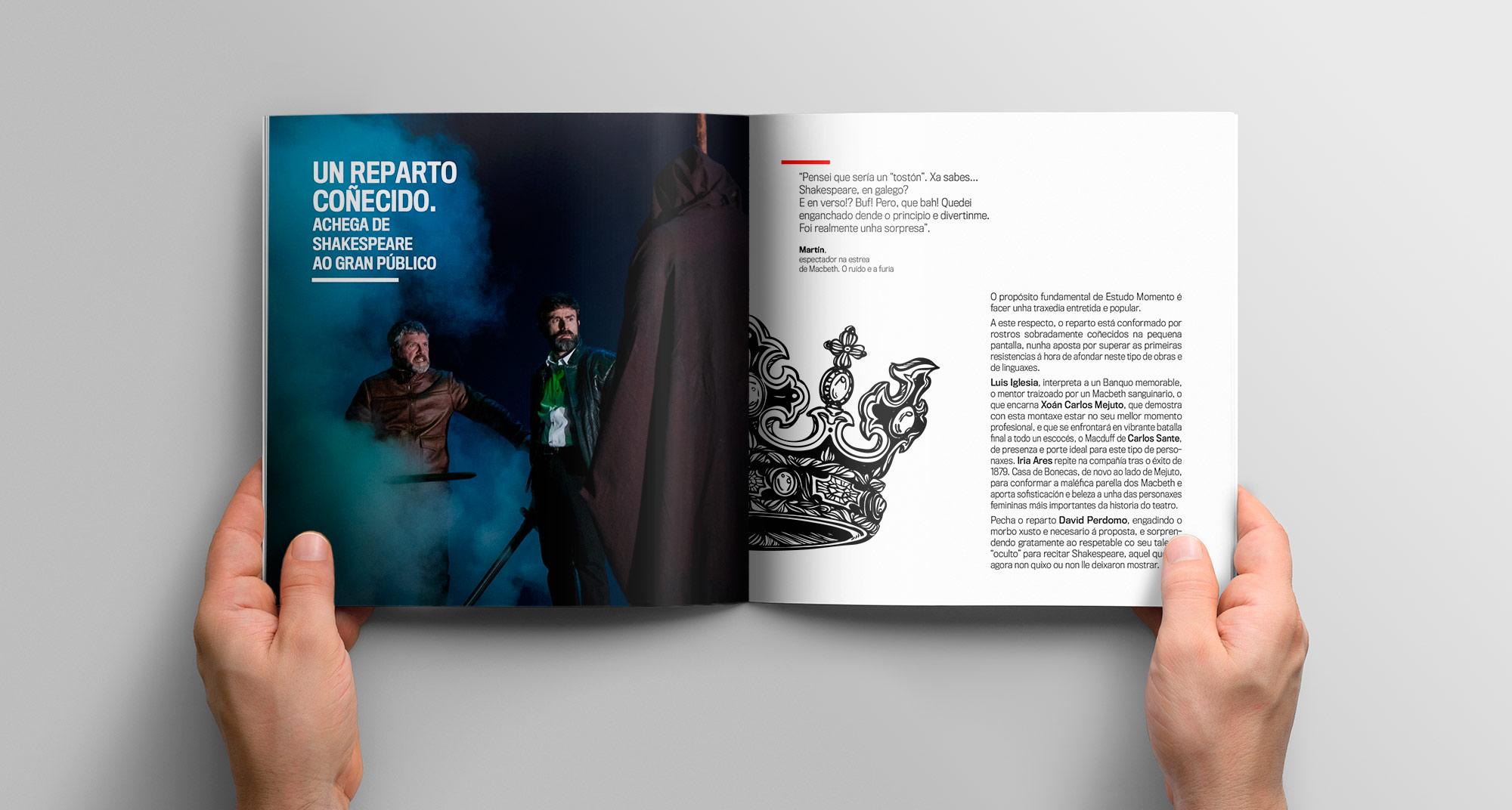 Diseño y maquetación dosser Macbeth en gallego