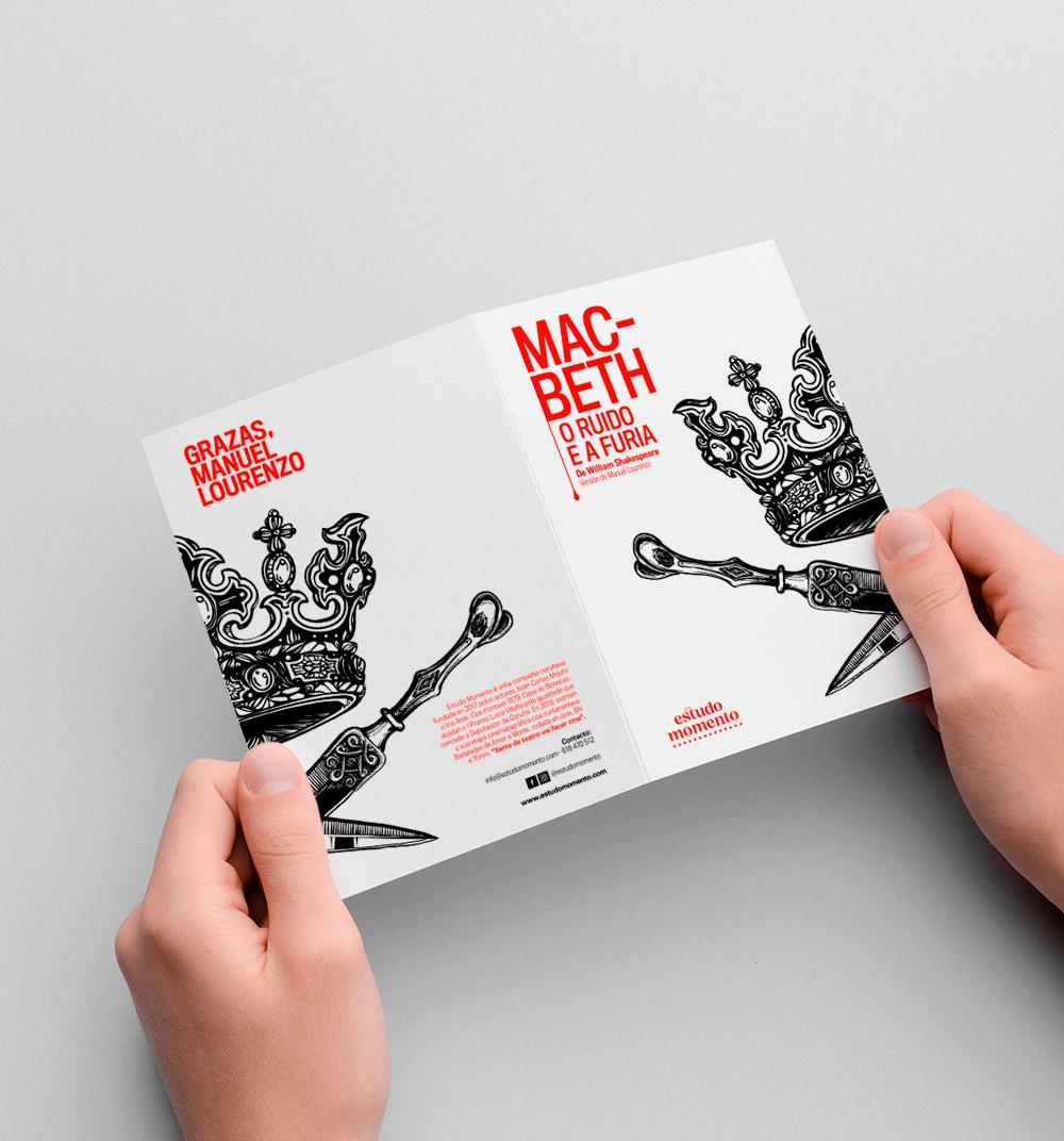 Diseño de folleto obra de teatro Macbeth