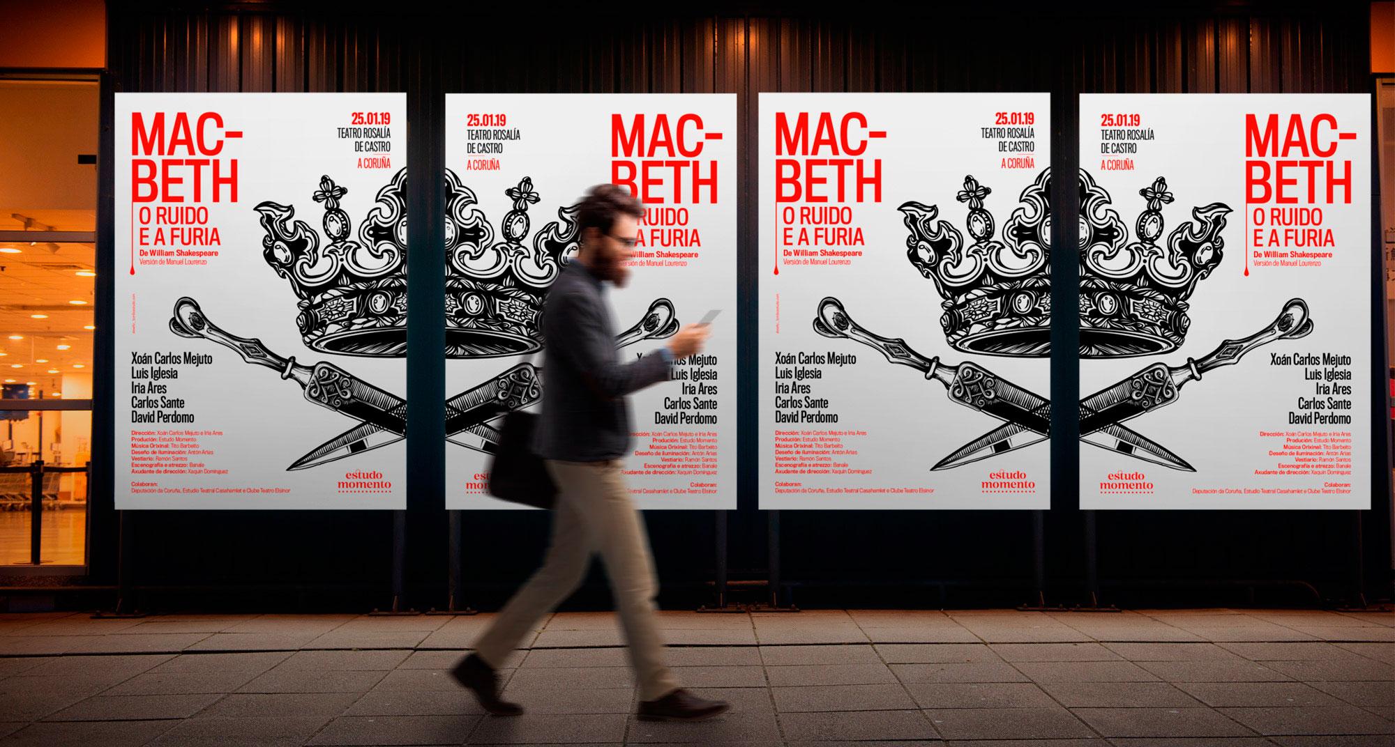 Cartel promocional de obra de teatro Macbeth en gallego