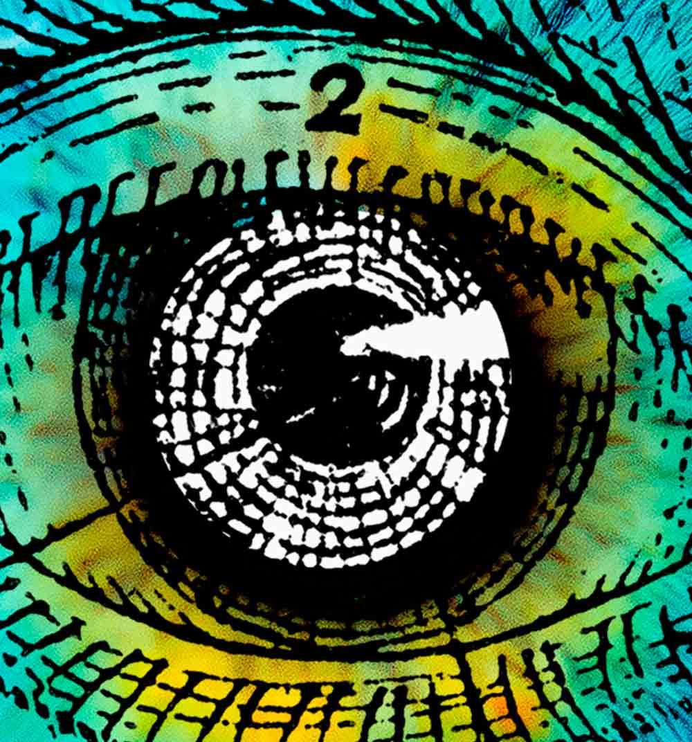 Ilustración de ojo realizada a tinta y coloreada digitalmente