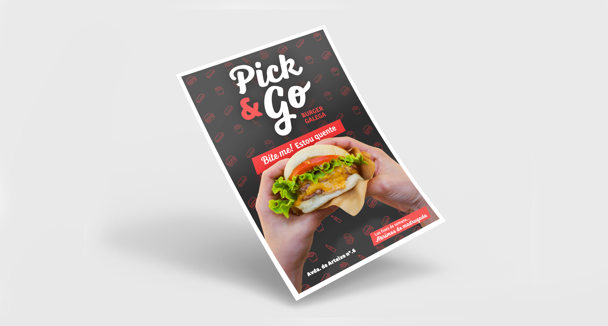 Diseño del flyer para repartir por las calles de A Coruña con motivo de la apertura de la hamburguesería