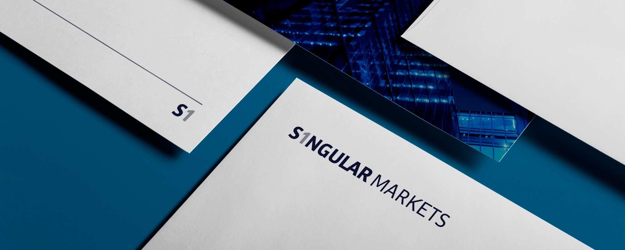 Papelería corporativa de la marca Singular Markets