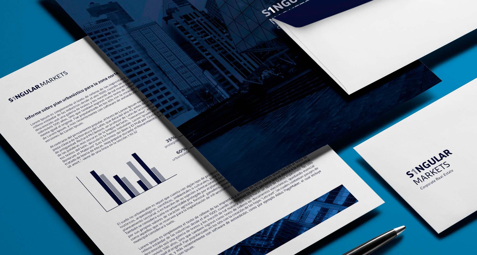 aplicaciones de papelería para la marca Singular Markets