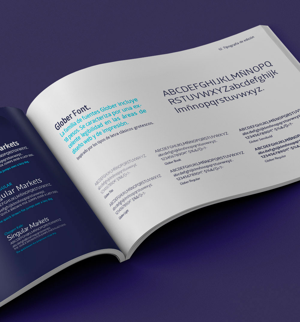 Manual de identidad o brandbook en donde se especifican las características del diseño de la marca