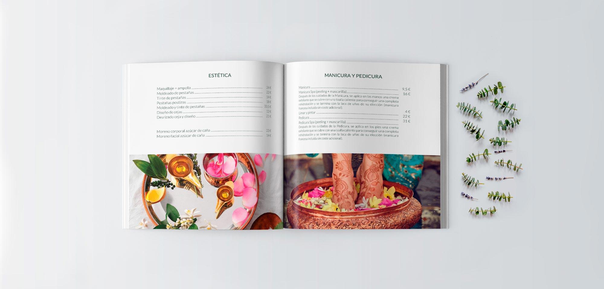 Catálogo realizado con un diseño limpio y elemgante con información servicios de la peluquería