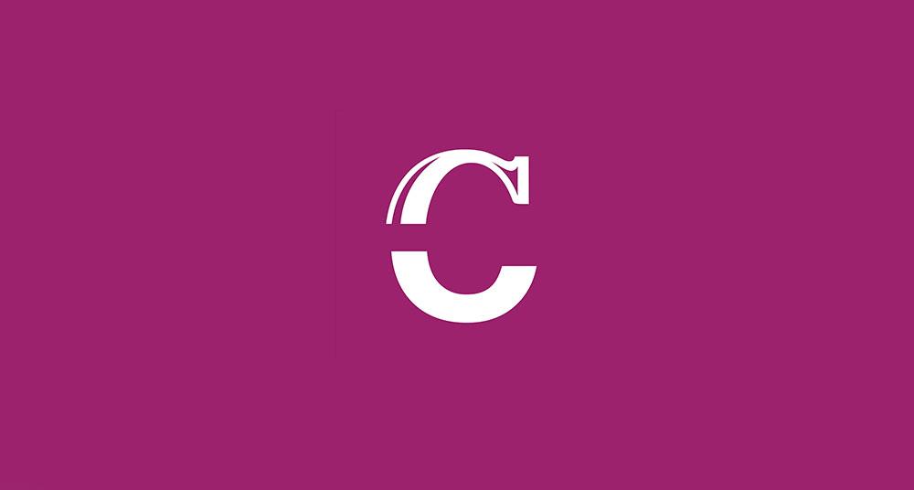 Logotipo de letra C sobre colores corporativos para clásicos nunha hora