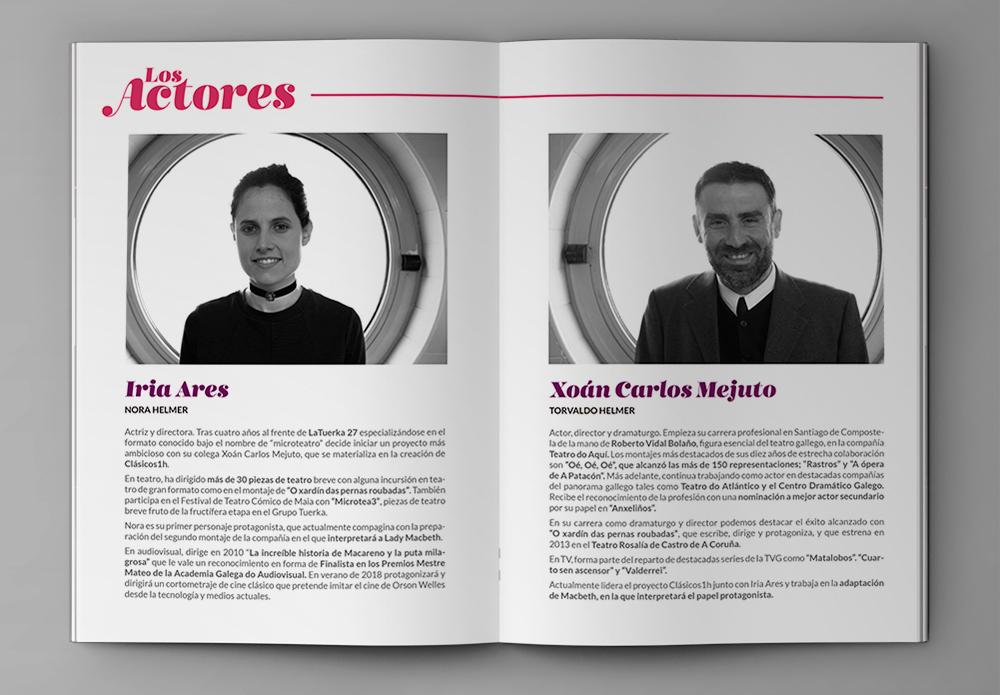 Creatividad para la revista dossier de los actores Iria Ares y Xoan Carlos Mejuto
