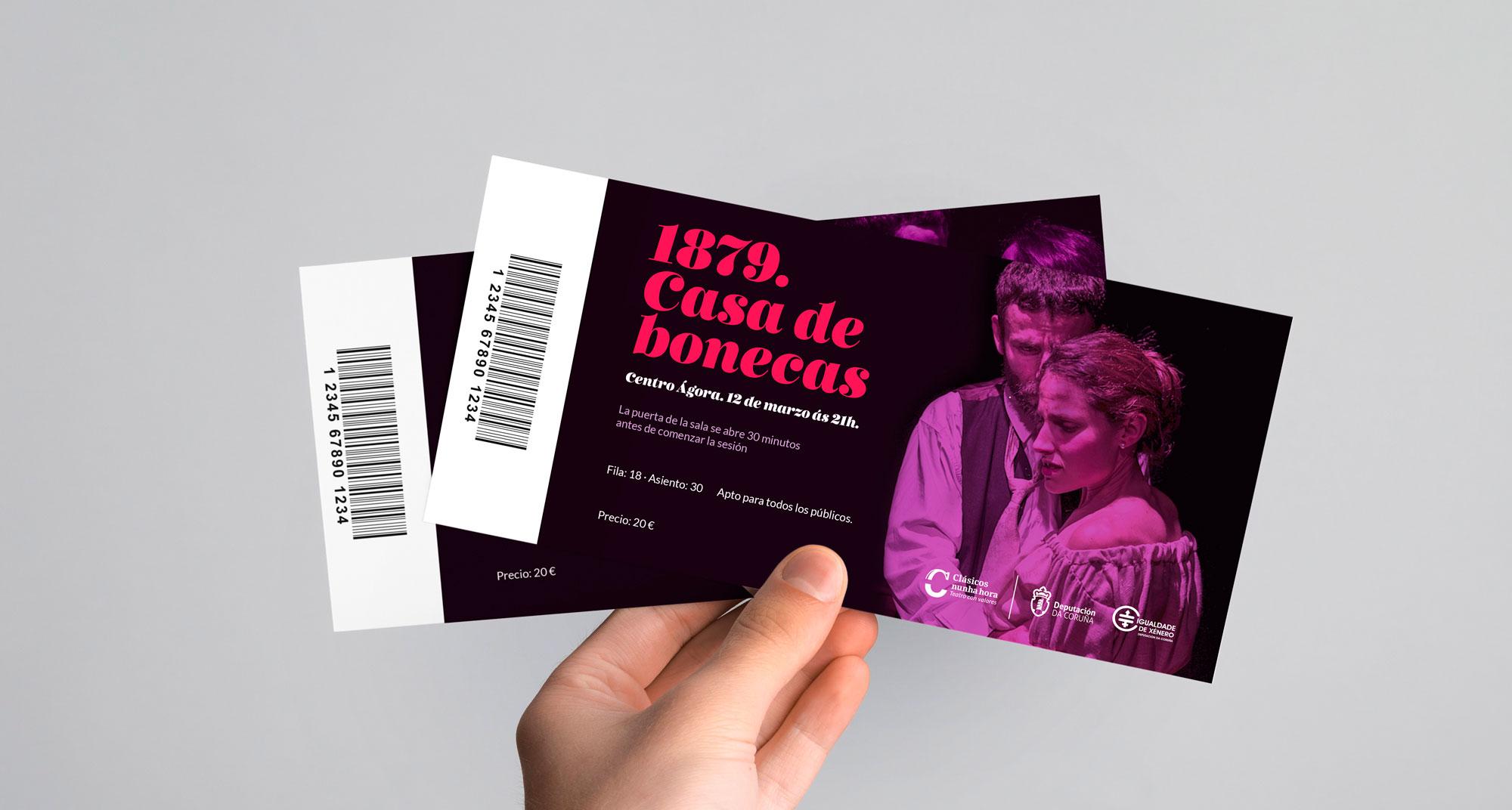 creatividad para entradas para la obra de teatro Casa de bonecas, diseñadas con tres tonos de color y una tipografía caligráfica