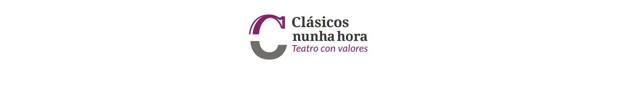 Identidad corporativa para compañía de teatro gallego formado por un símbolo y un logotipo con tipografía clásica pero actual