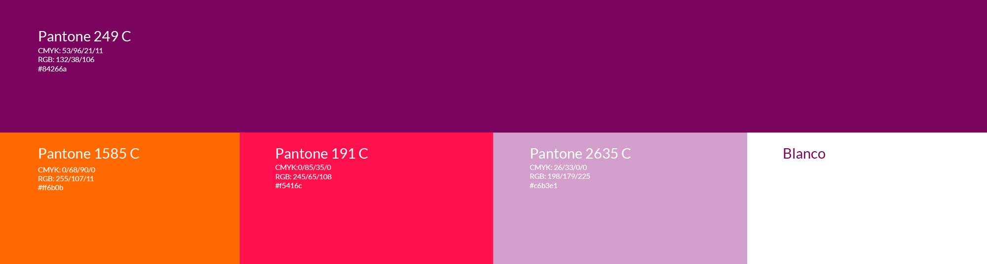 Representación de los colores Pantone para la identidad visual de Clásicos nunha Hora. COmpuesta por 4 tonos combinables entre sí