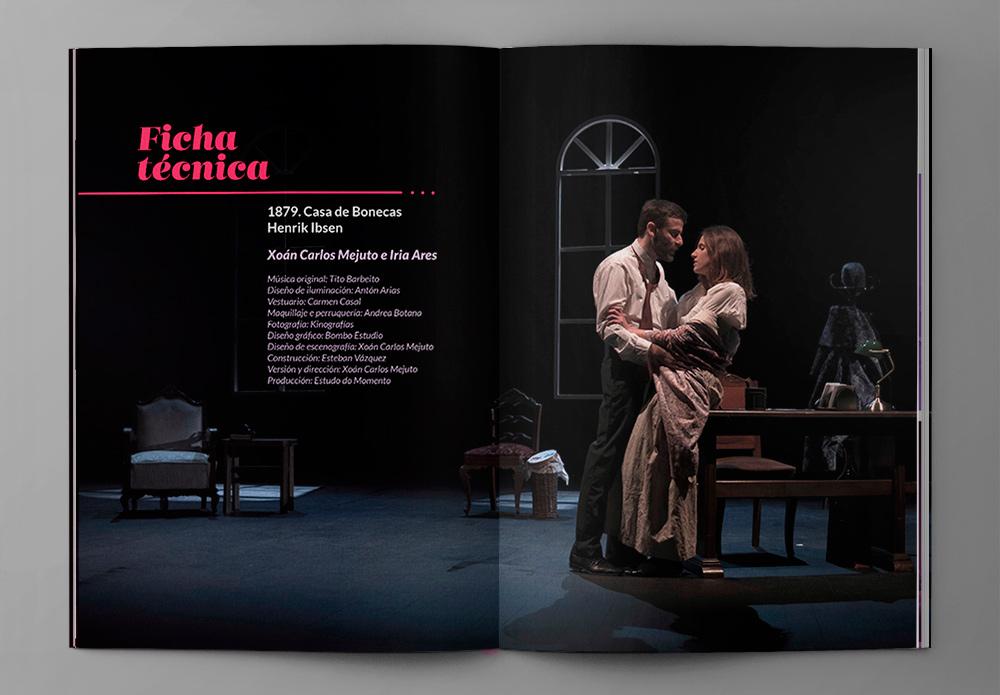 Páginas interiores de revista diseñada para la obra Casa de muñecas para su dossier de Coruña. La maqueta está formada por una composición tipográfica sobre la imagen de los actores formando un diseño actual
