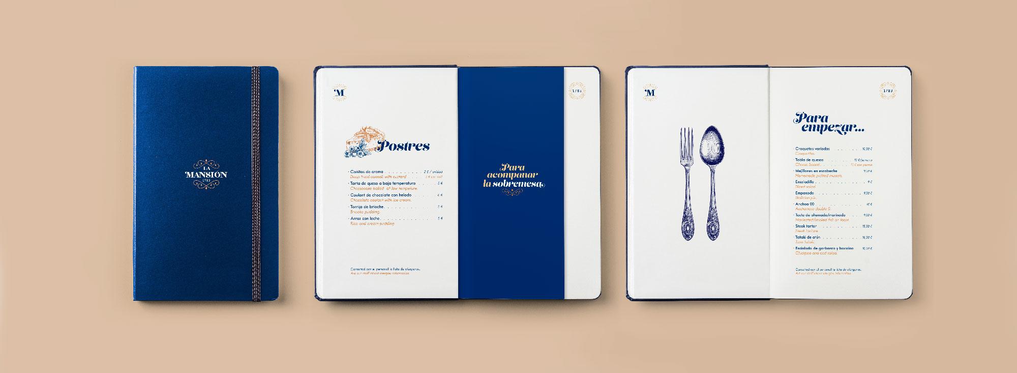 Diseño de carta de restaurante La Mansión de A Coruña