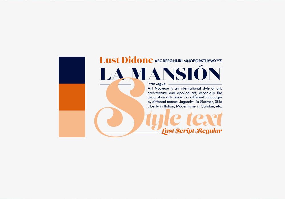 Tipografía de proyecto de diseño de marca de La Mansión