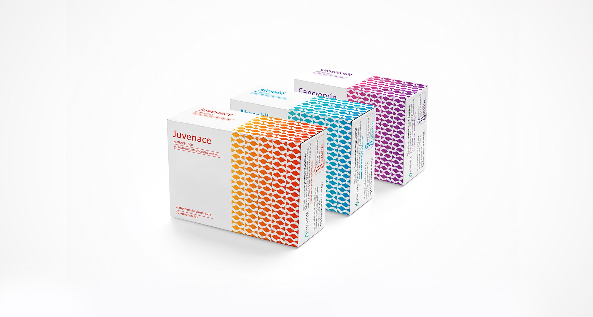 Diseño de packaging para nutracéuticos en los que se juega con la gama de colores