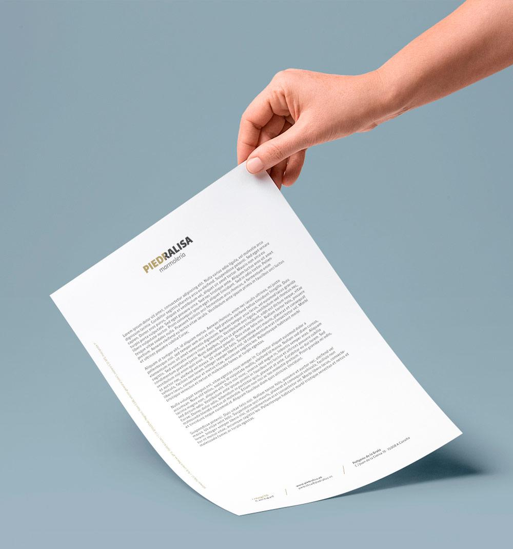 Diseño de papel de carta para la marca Piedralisa