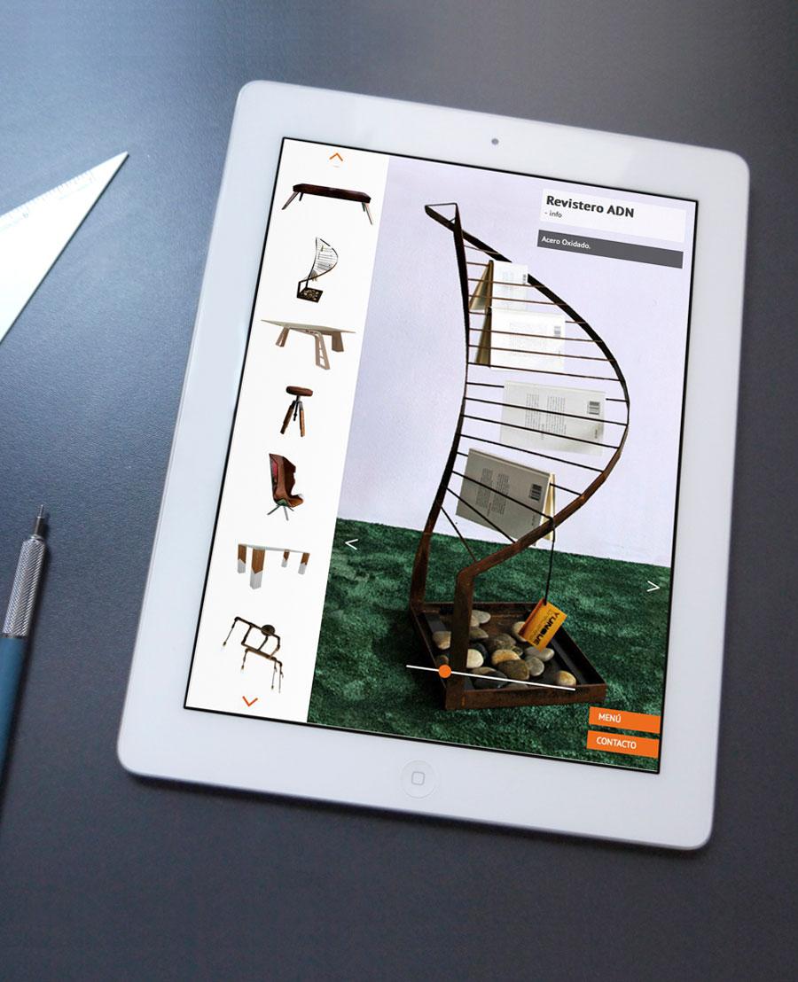 Diseño web para tablets Yunque mobiliario