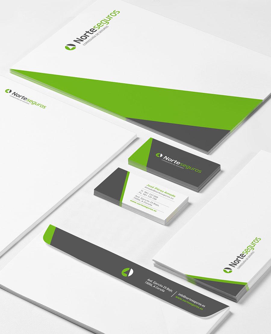 Diseño papelería corporativa Norteseguros A Coruña