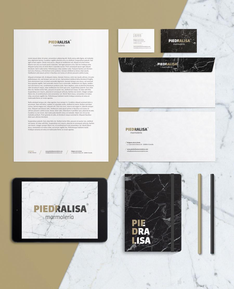 Diseño papelería corporativa Piedralisa A Coruña